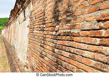 vägg, tegelsten, grunge