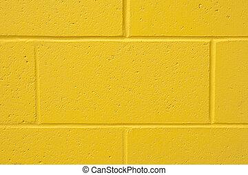 vägg, tegelsten, gul fond