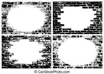 vägg, tegelsten, kanter