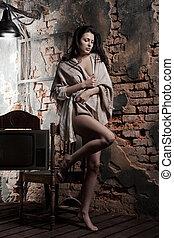vägg, tegelsten, kvinna, bakgrund