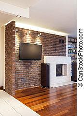 vägg, tegelsten, lägenhet, -, spatiös