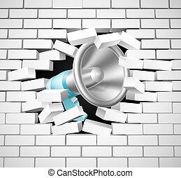 vägg, tegelsten, megafon, inridning