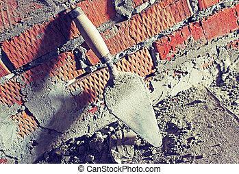 vägg, tegelsten, murslev, bakgrund
