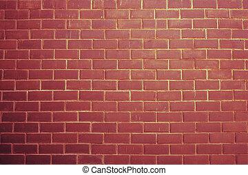 vägg, tegelsten, röd