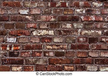 vägg, tegelsten, röd, struktur