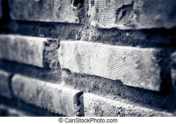 vägg, tegelsten, smutsa ner
