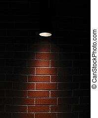 vägg, tegelsten, spotlight, röd