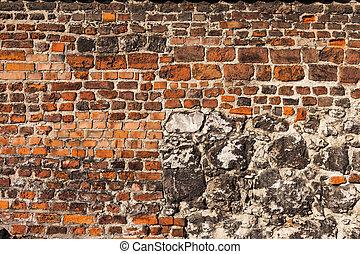 vägg, tegelsten, sten, bakgrund, historisk
