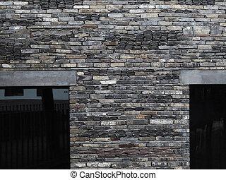 vägg, tegelsten