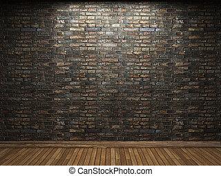 vägg, tegelsten, upplyst
