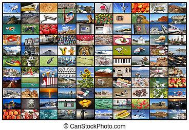 vägg, television skärma, video