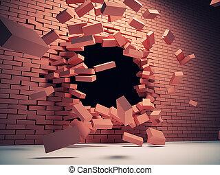 vägg, tillintetgörelse