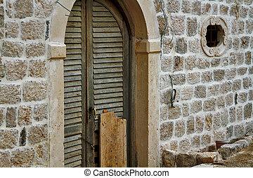 vägg, trä, sten, gammal, dörr