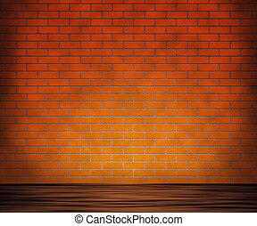 vägg, trä, tegelsten, bakgrund, golv