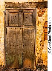 vägg, trä, tegelsten, gammal, dörr