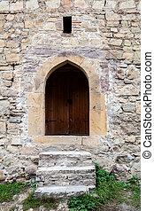vägg, trappa, sten, dörr