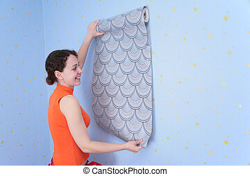 vägg, tries, kvinna, ung, wall-papers