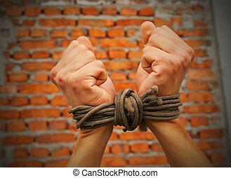 vägg, uppe mot, rep, bundet, räcker, tegelsten