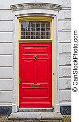 vägg, vit, dörr, röd