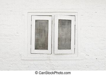 vägg, vit, fönster