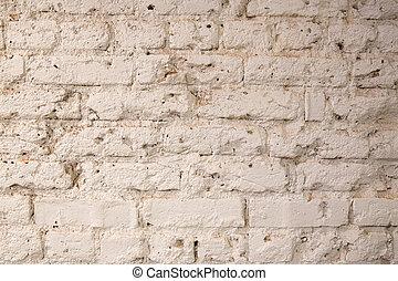 vägg, vit fond, tegelsten, struktur