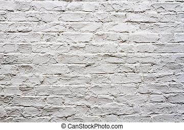 vägg, vit, gammal, tegelsten, bakgrund