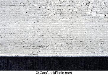 vägg, vit, svart, tegelsten,  skirting