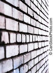 vägg, vit, tegelsten