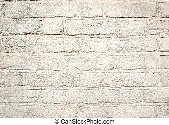 vägg, vita tegelsten