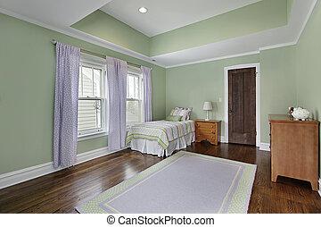 väggar, grön, sovrum