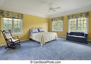 väggar, gul, sovrum