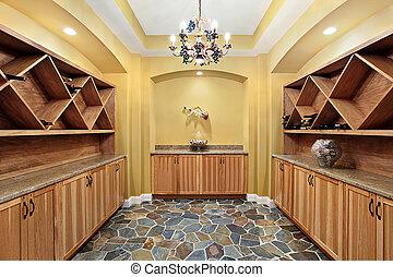 väggar, källare, gul, vin
