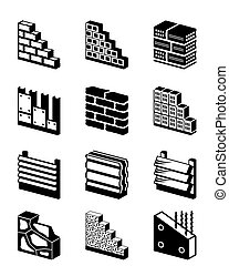 väggar, konstruktion, material