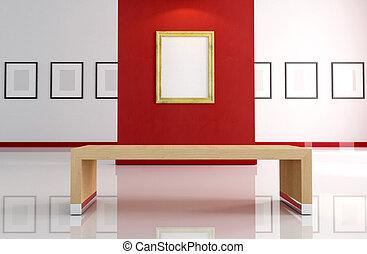 väggen inramar, tom, röd, guld