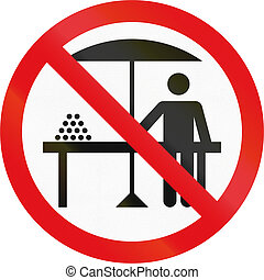 vägmärke, använd, in, den, afrikansk, countrymusik av, botswana, -, hawkers, förbjuden