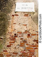 vägmärke, på, a, tegelsten vägg