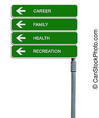 vägmärke, till, liv, mål