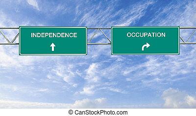 vägmärke, till, oberoende, och, ockupation