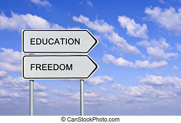 vägmärke, till, utbildning, och, frihet