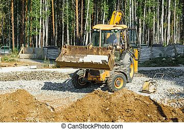 vägskrapa, arbete, utanför, på, väg konstruktion
