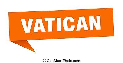 vägvisare, vatikanen, sticker., underteckna, apelsin, pekare