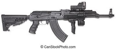 väl, känd, ak-47, kalashnikov, angrepp, rifle.