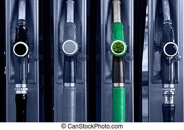 välja, den, grön, one.