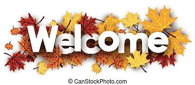 välkommen, baner, leaves., lönn