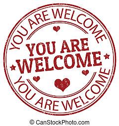 välkommen, dig, stämpel