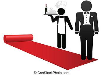 välkommen, folk, hotell, gästfrihet, matta, rulle, röd, ute