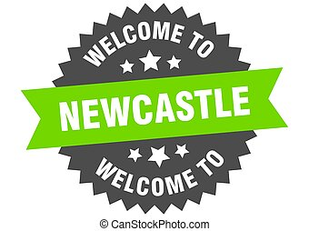välkommen, grön, märke, skylt., newcastle