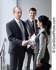 välkommen, handslag, chef, och, client., begrepp, av, samarbete