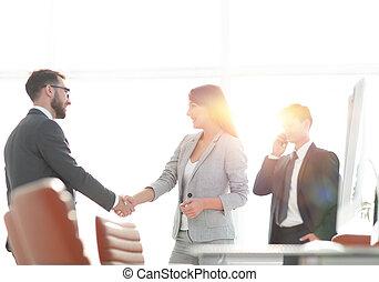 välkommen, handslag, chef, och, den, klient