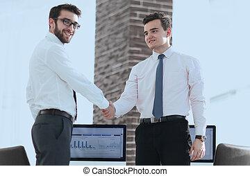 välkommen, handslag, chef, och, klient